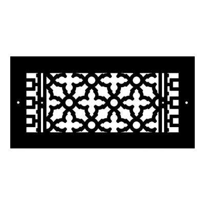 Scroll Series 14 in. x 6 in. Cast Iron Grille, Black with Mounting Holes