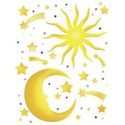 25.5 in. x 33.5 in. Stars and Moon Wall Decal