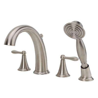 Montbeliard 2-Handle Deck Mount Roman Tub Faucet with Handshower in Brushed Nickel