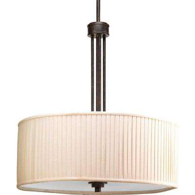 Clayton Collection 3-Light Espresso Foyer Pendant with Cream Pleated Linen Shade