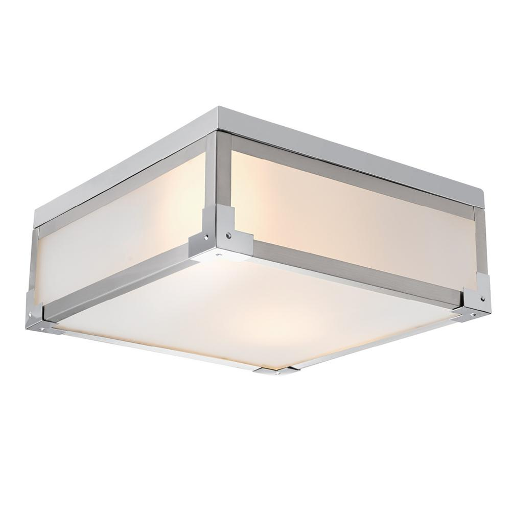 Globe Electric Blair 2-Light Brushed Steel Flush Mount Ceiling Light with Frosted Glass Shade