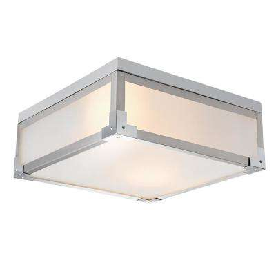 Blair 2-Light Brushed Steel Flush Mount Ceiling Light with Frosted Glass Shade