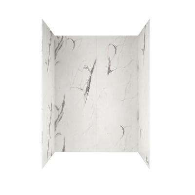 Passage 60 in. x 72 in. 4-Piece Glue-Up Alcove Wall in Powder Marble