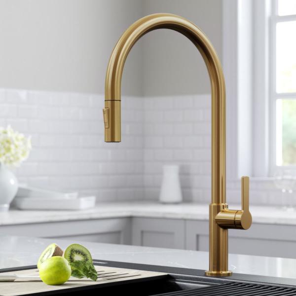 Kraus Oletto High-Arc Single Handle Pull-Down Kitchen Faucet in Brushed Brass