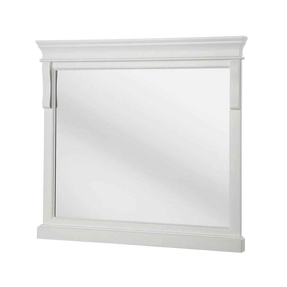 Home Decorators Collection Naples 36 In X 32 Framed Wall Mirror White