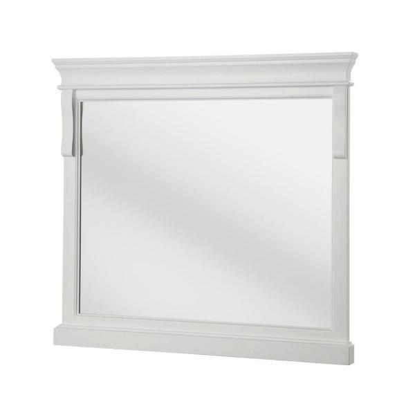 Home Decorators Collection 36 In W X 32 In H Framed Rectangular Bathroom Vanity Mirror In White Nawm3632 The Home Depot
