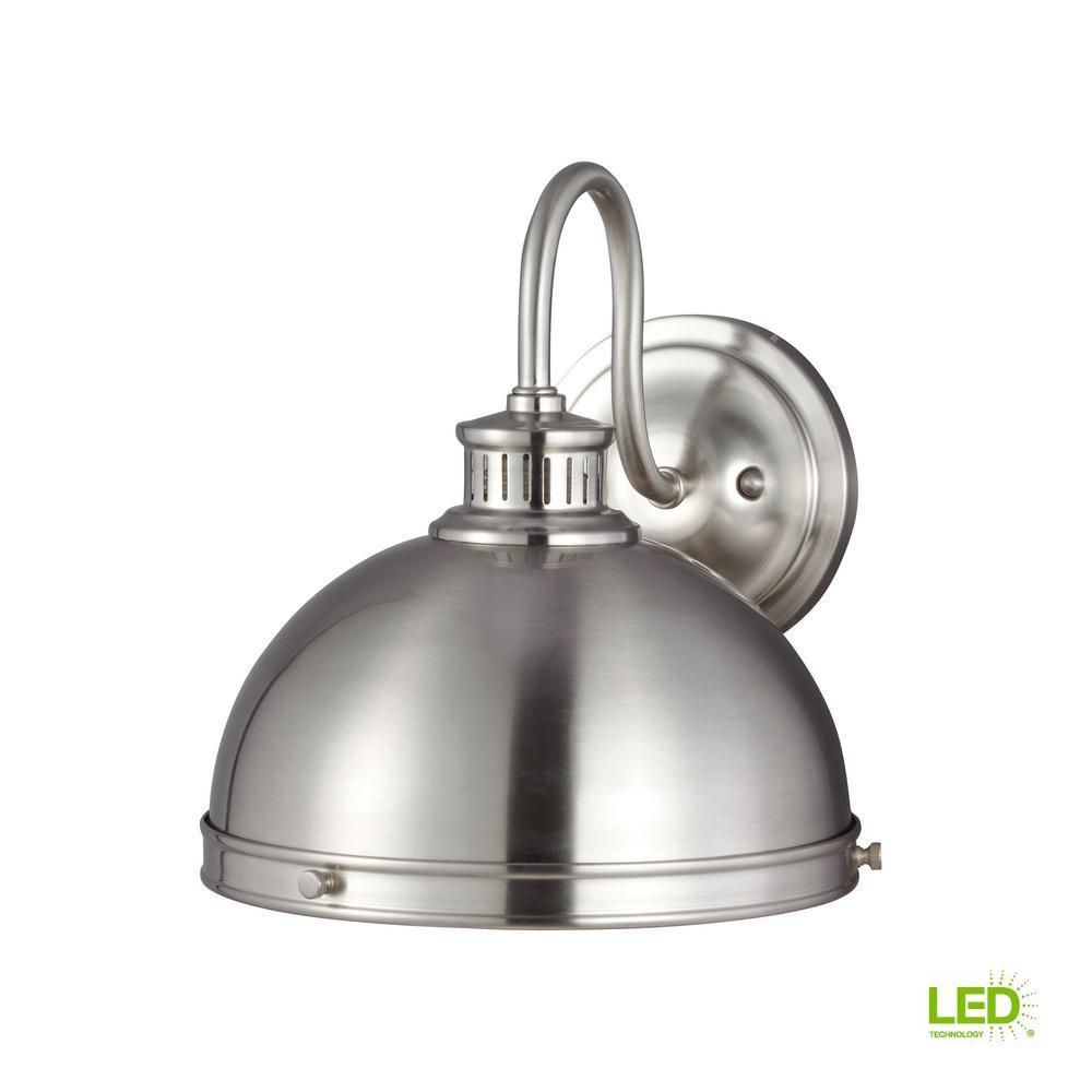 Pratt Street Sconces 1-Light Brushed Nickel Sconce with LED Bulb