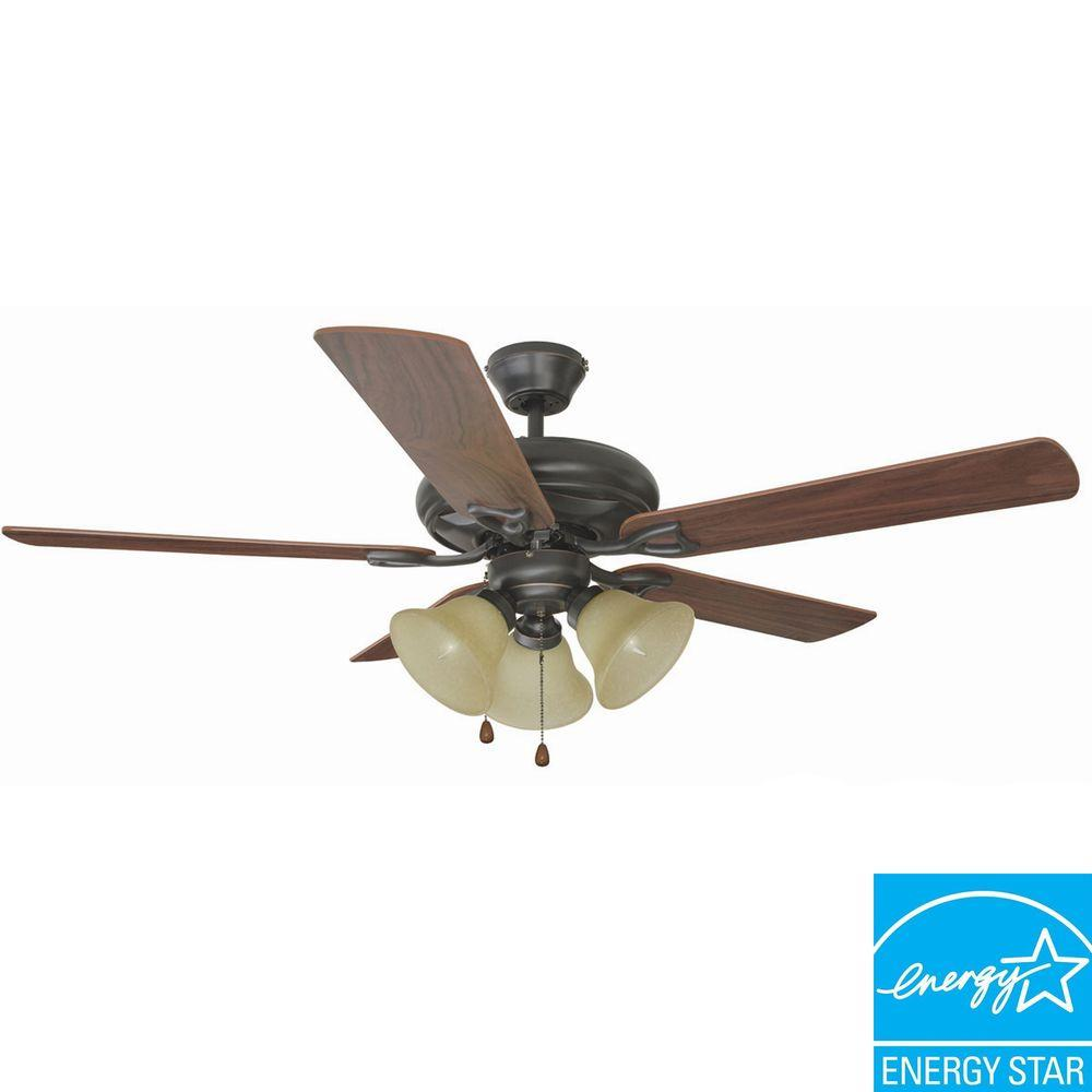 Bristol 52 in. 3-Light Oil Rubbed Bronze Ceiling Fan