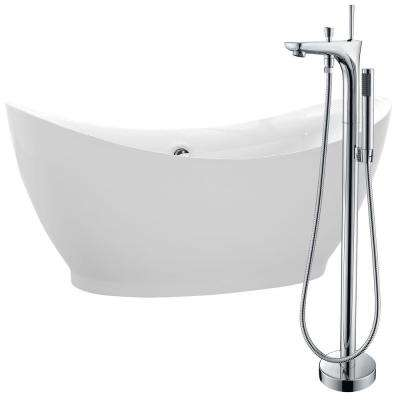 Reginald 68 in. Acrylic Flatbottom Non-Whirlpool Bathtub in White with Kase Faucet in Polished Chrome