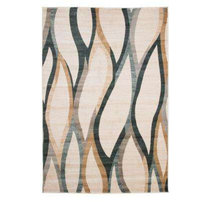 Opus Contemporary Curves Cream 5 ft. 3 in. x 7 ft. 7 in. Area Rug
