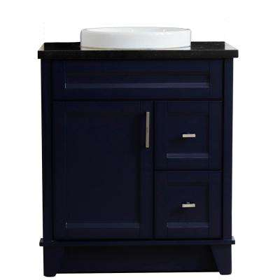 31 in. W x 22 in. D Single Bath Vanity in Blue with Granite Vanity Top in Black Galaxy with White Round Basin
