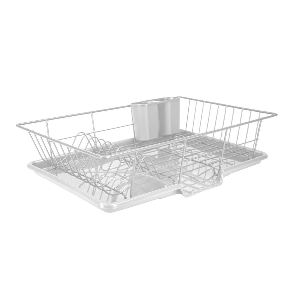 Home Basics Dish Drainer Set In White (3 Piece)