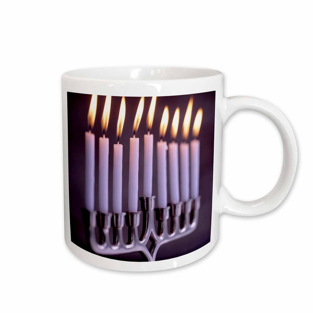 Holidays 11 oz. White Ceramic Hanukkah Candles Mug