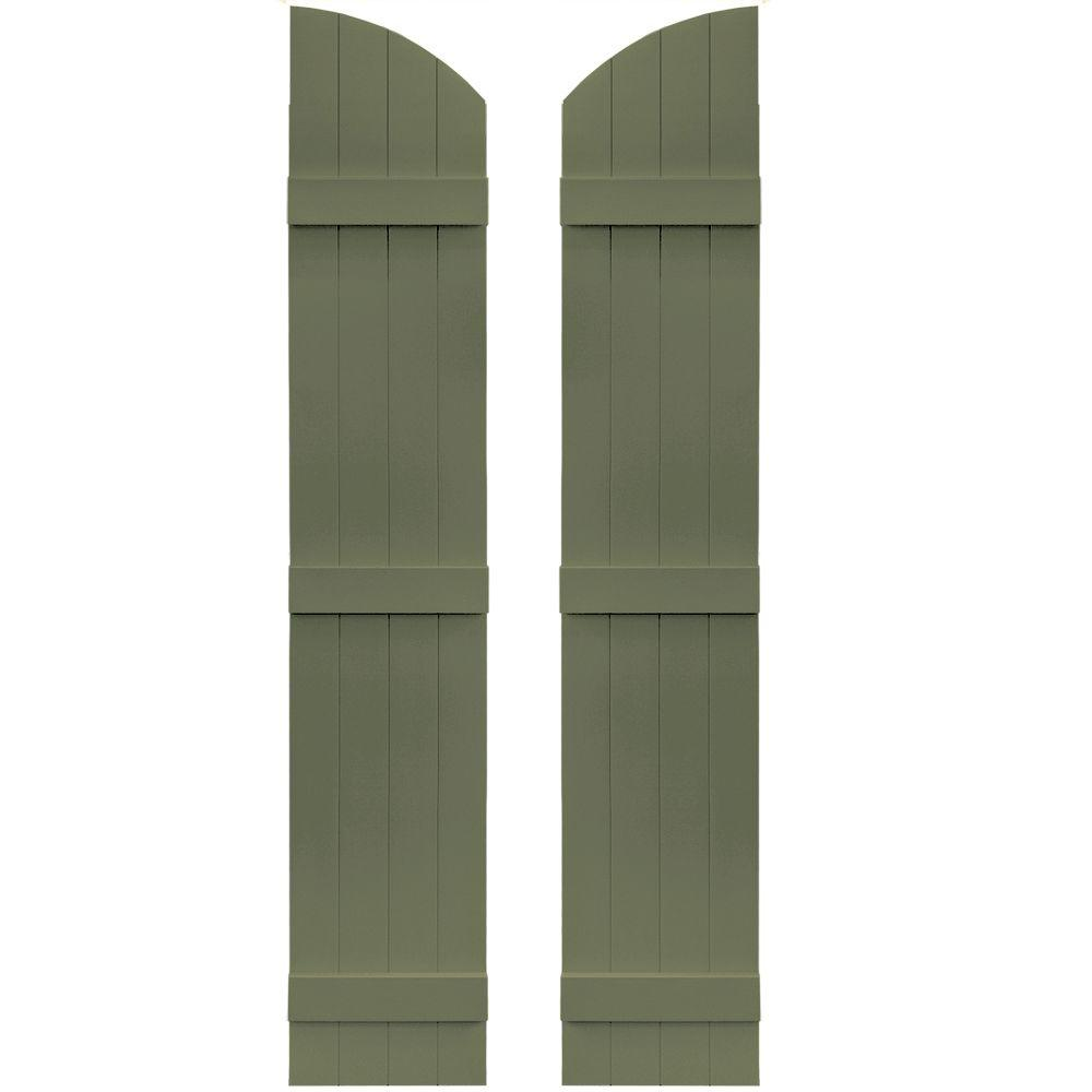 Builders Edge 14 in. x 73 in. Board-N-Batten Shutters Pair, 4 Boards Joined with Arch Top #282 Colonial Green