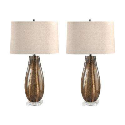 28 in. Oval Sand Glass Table Lamp Set