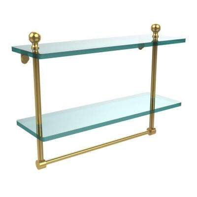 Mambo 16 in. L  x 12 in. H  x 5 in. W 2-Tier Clear Glass Bathroom Shelf with Towel Bar in Polished Brass