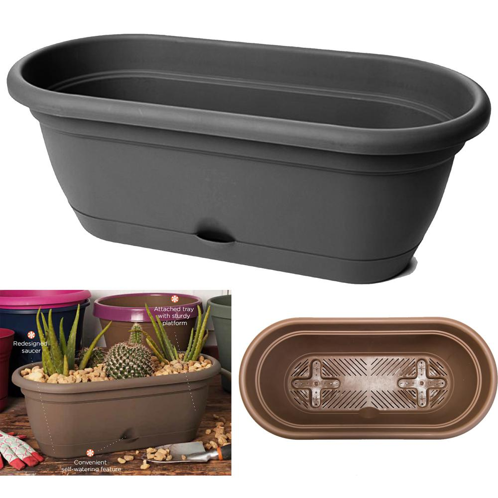 Bloem 18 x 7.5 Black Lucca Plastic Self Watering Window Box
