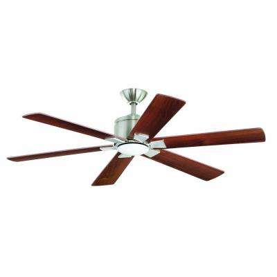 Renwick 54 in. Indoor Brushed Nickel Ceiling Fan with Light Kit and Remote Control