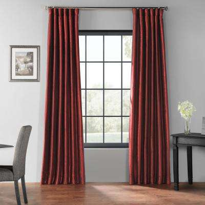 Ruby Red Blackout Vintage Textured Faux Dupioni Silk Curtain - 50 in. W x 96 in. L