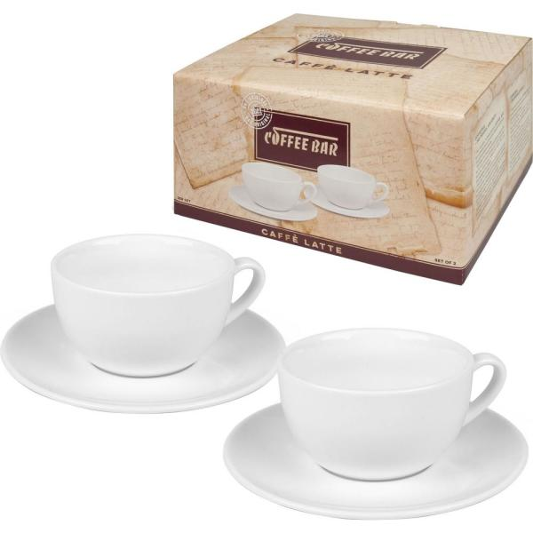 Konitz 4-Piece White Coffee Bar #11A Porcelain Cafe Latte Cup and Saucer  Sets Gift Boxed