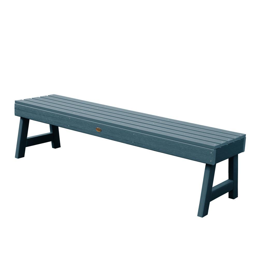 Highwood Weatherly 60 in. 2-Person Nantucket Blue Recycled Plastic Outdoor Picnic Bench