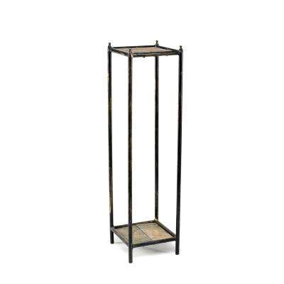28.5 in. Cast Iron Gray Stone Slab 2-Tier Medium Square Plant Stand
