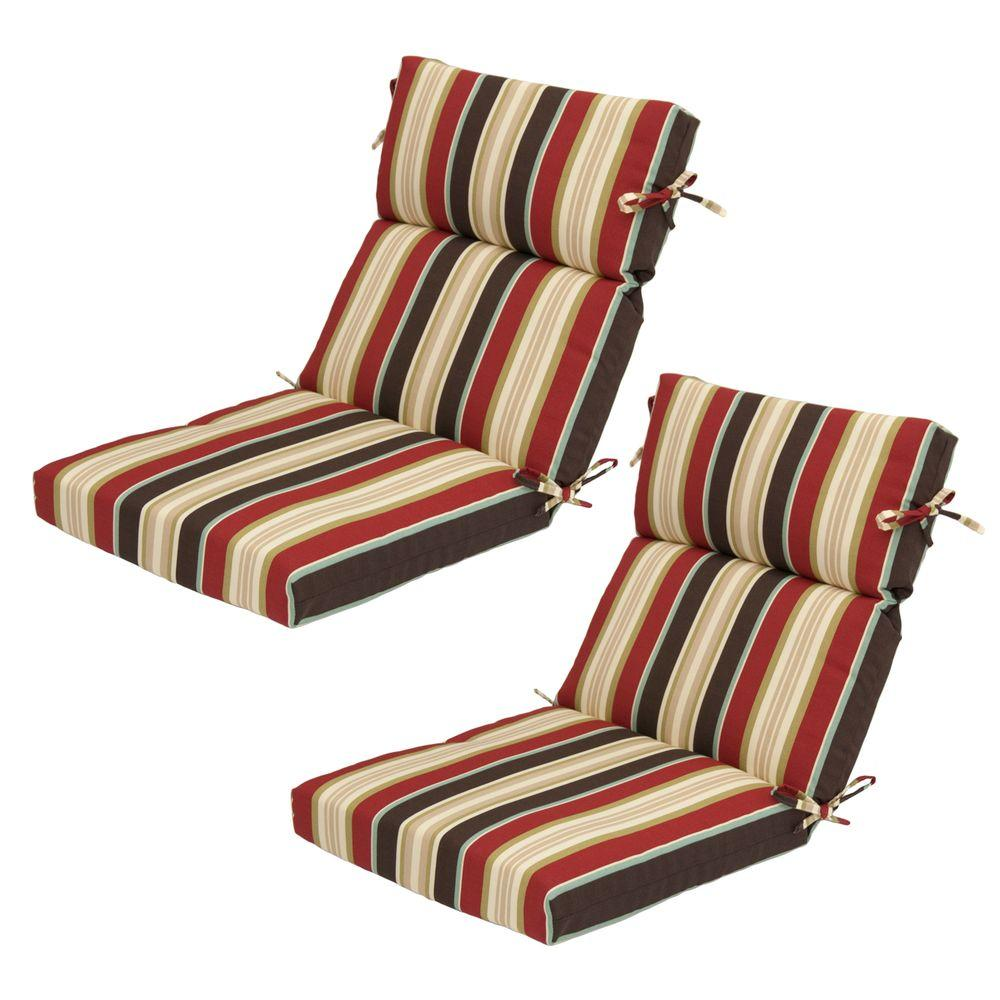 Hampton Bay Majestic Stripe High Back Outdoor Chair Cushion (2-Pack)