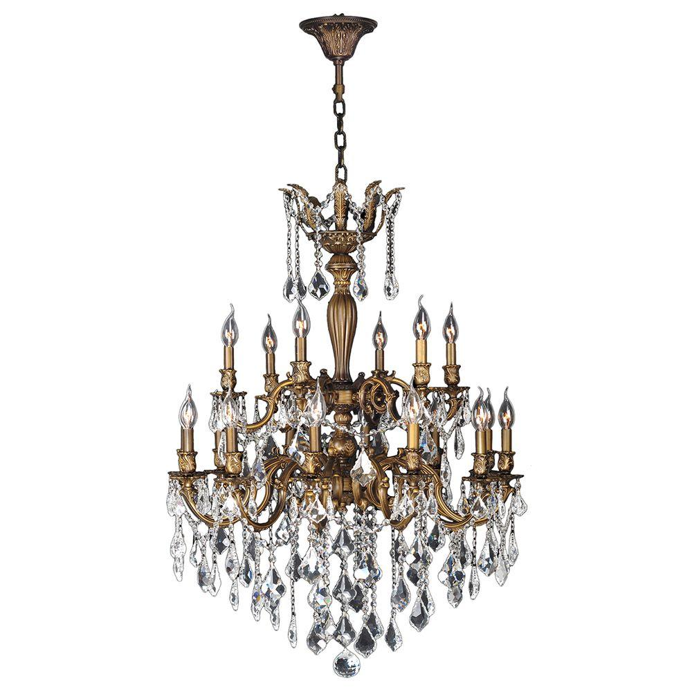 Worldwide Lighting Versailles 18-Light Antique Bronze Crystal Chandelier