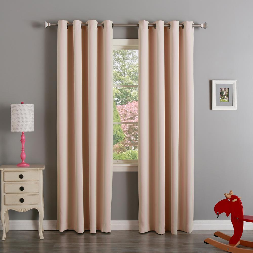 L Room Darkening Vertical Stripe Curtain Panel In Baby Pink