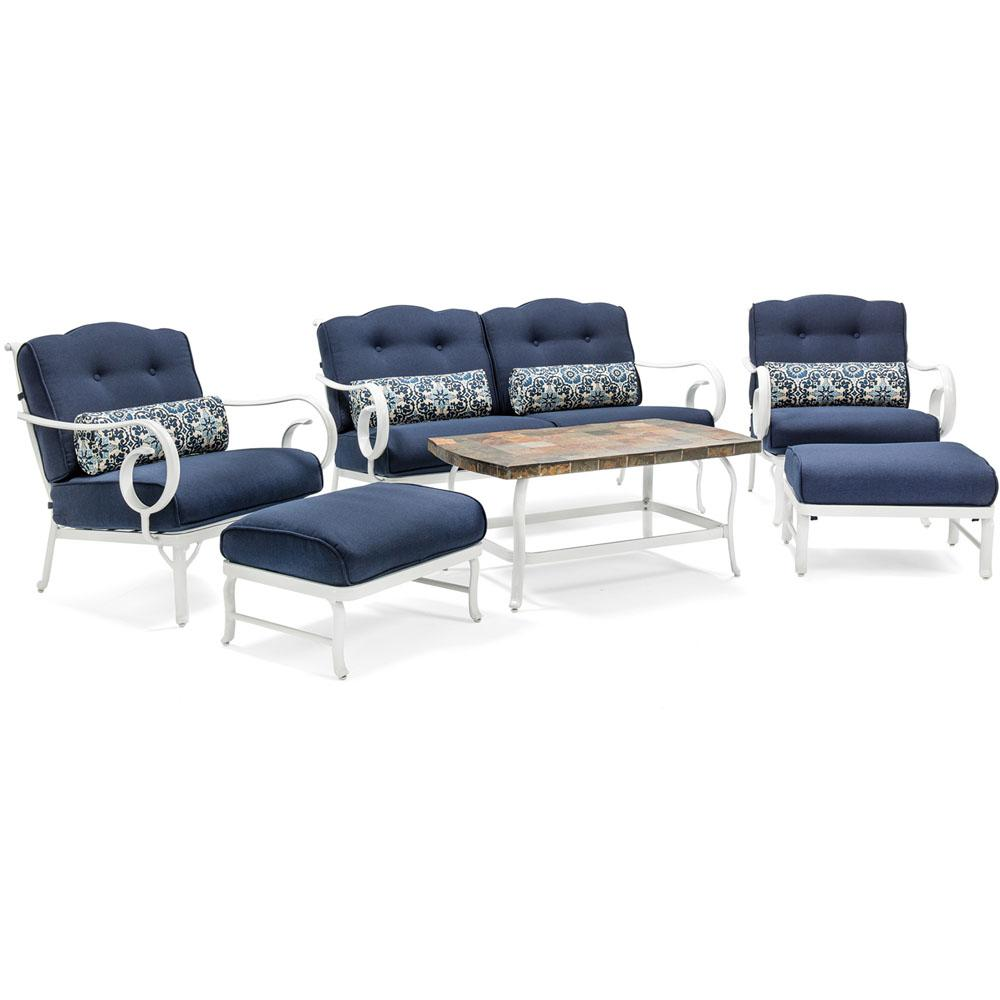 White Willow 6-Piece Aluminum Patio Seating Set with Navy Cushions