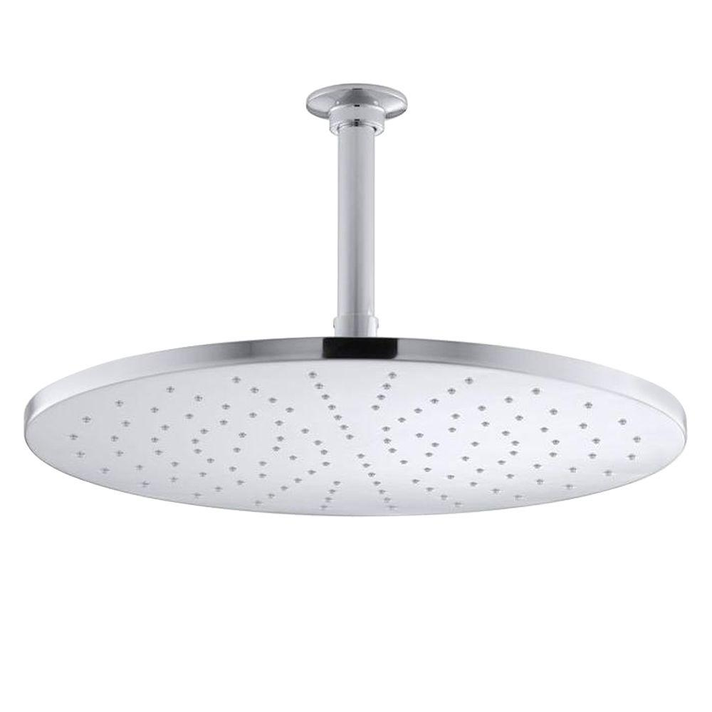 KOHLER 1-Spray 14 in. Contemporary Round Rain Showerhead in Polished ...