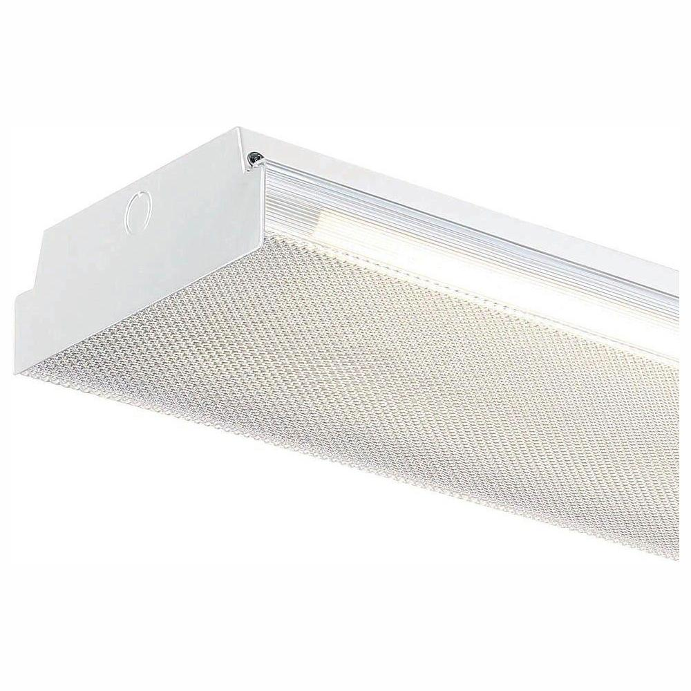 EnviroLite 4 ft. x 9 in. 2-Light White LED Flushmount MV Wraparound Light with T8 LED 4000K Tubes