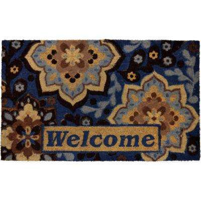 Fiesta Multi Blue 22 in. x 36 in. Coir Outdoor Mat