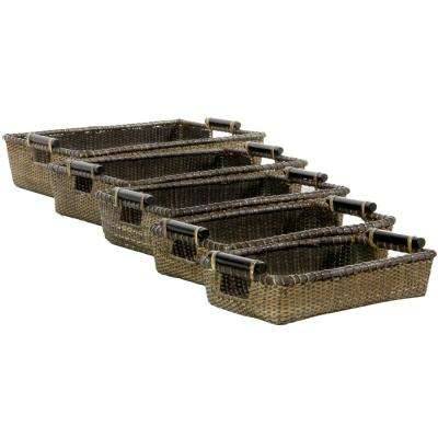 Oriental Furniture 20 in. x 5.5 in. Rattan Set of Five Open Tote Boxes