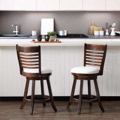 Woodgrove 25 in. Counter Height Wood Swivel Barstools with White Leatherette Seat and 6-Slat Backrest (Set of 2)