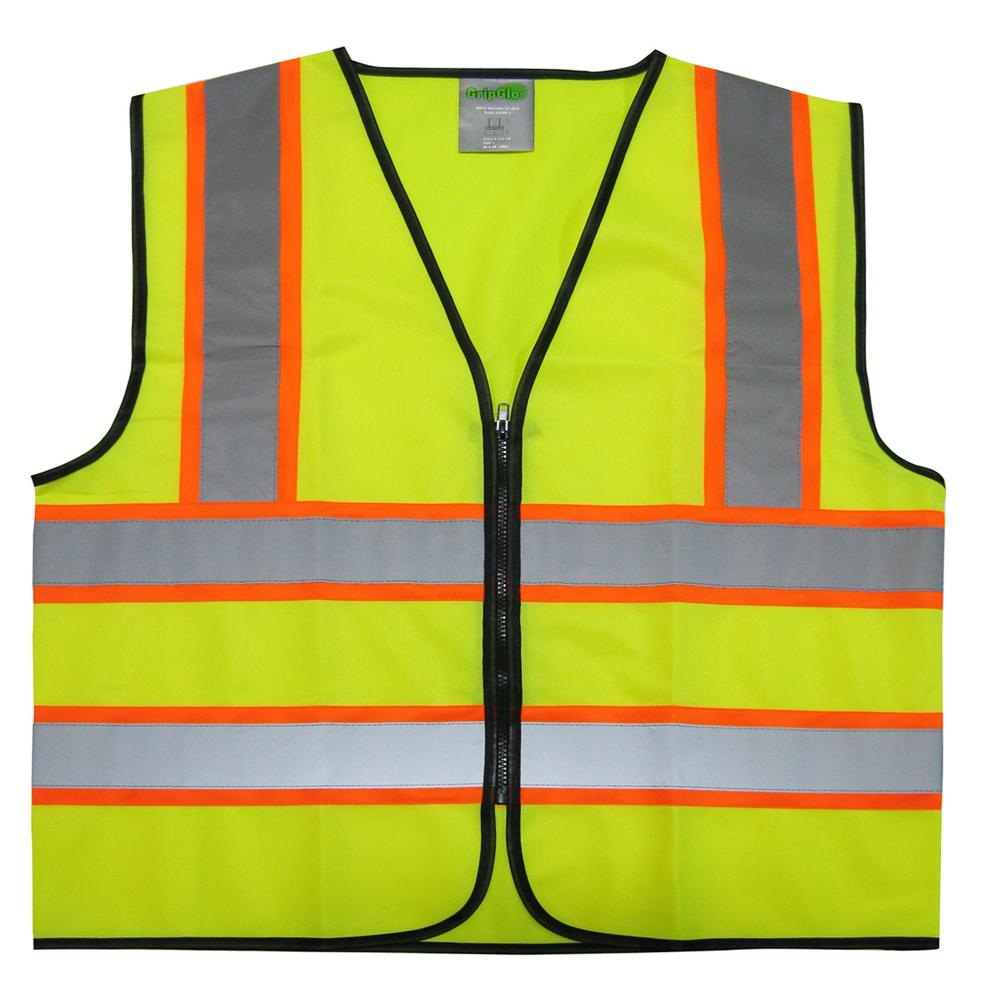 GripGlo High Visibility Neon Lime Zipper Front Safety Vest with Meets ANSI Class 2 X-Large 2-Tone Reflective Strips