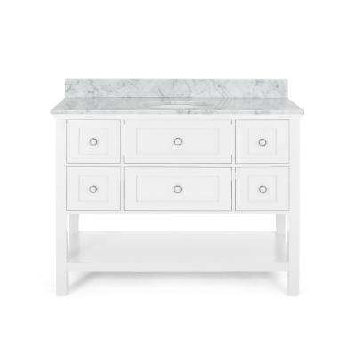 Dawson 48 in. W x 22 in. D Bath Vanity with Carrara Marble Vanity Top in White with White Basin