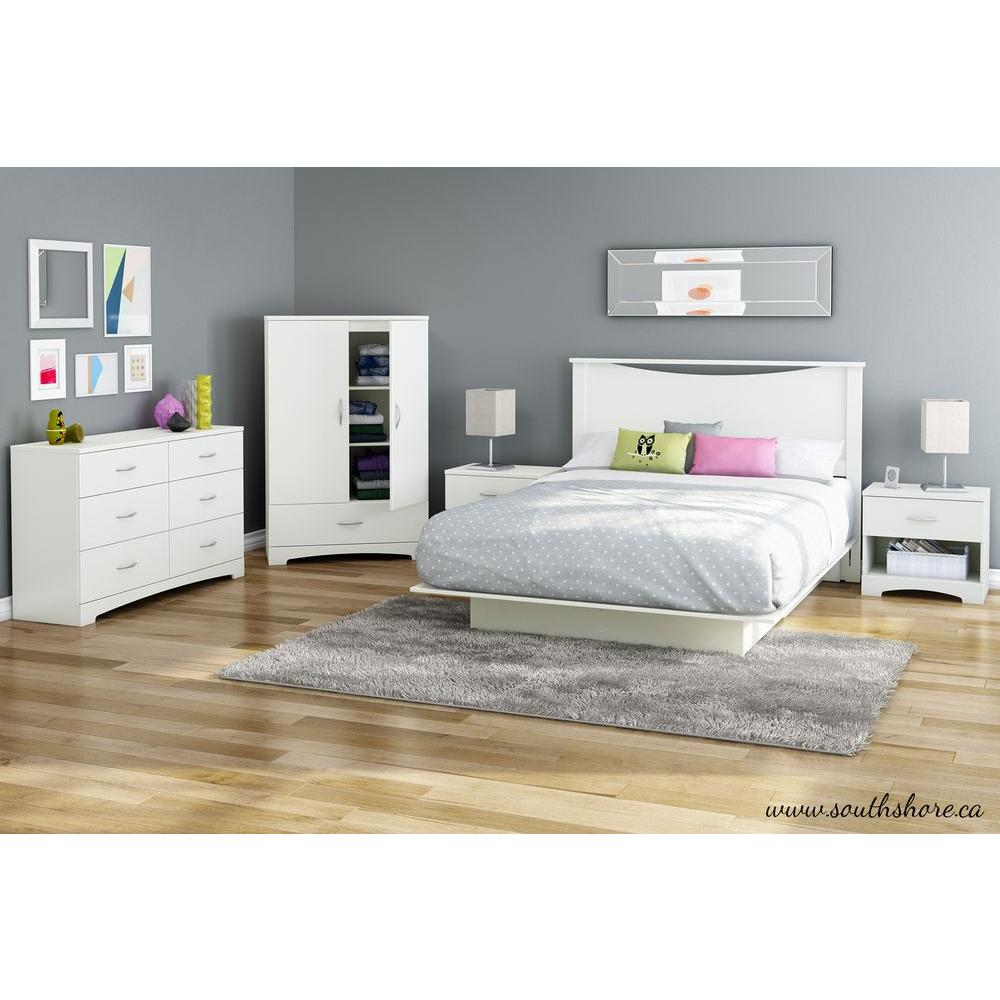 South Shore Step One Queen Size Platform Bed In Pure White 3050233