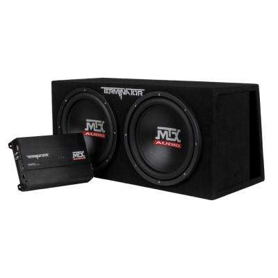 12- in. 2000-Watt Dual Loaded Subwoofer Enclosure with Amplifier