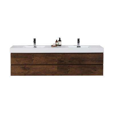 Fortune 80 in. W Bath Vanity in Rosewood with Reinforced Acrylic Vanity Top in White with White Basins