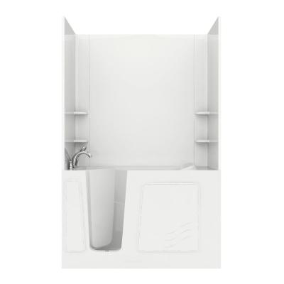 Rampart 5 ft. Walk-in Air Bathtub with Easy Up Adhesive Wall Surround in White