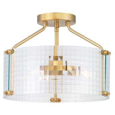 Westlyn 15 in. 3-Light Brushed Brass Semi-Flush Mount