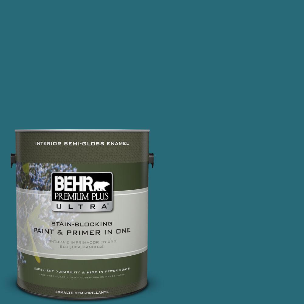 BEHR Premium Plus Ultra 1-gal. #M470-7 Blue Stream Semi-Gloss Enamel Interior Paint