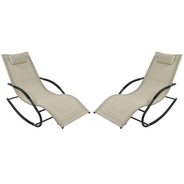 Sunnydaze Decor Beige Rocking Wave Sling Outdoor Lounge Chair With Pillow Set Of 2 Jon 596 The Home Depot