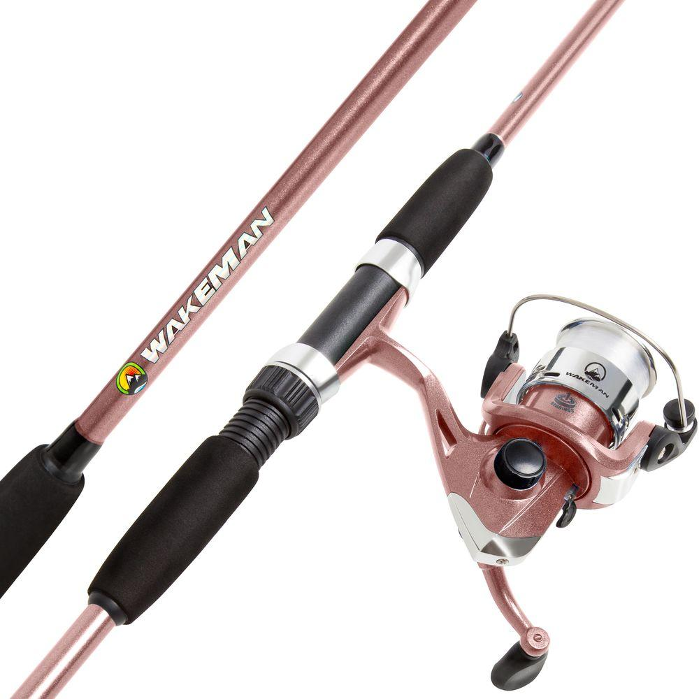 Rose Pink Metallic 66-in Swarm Series Spinning Rod and Pre-Spooled Reel Combo