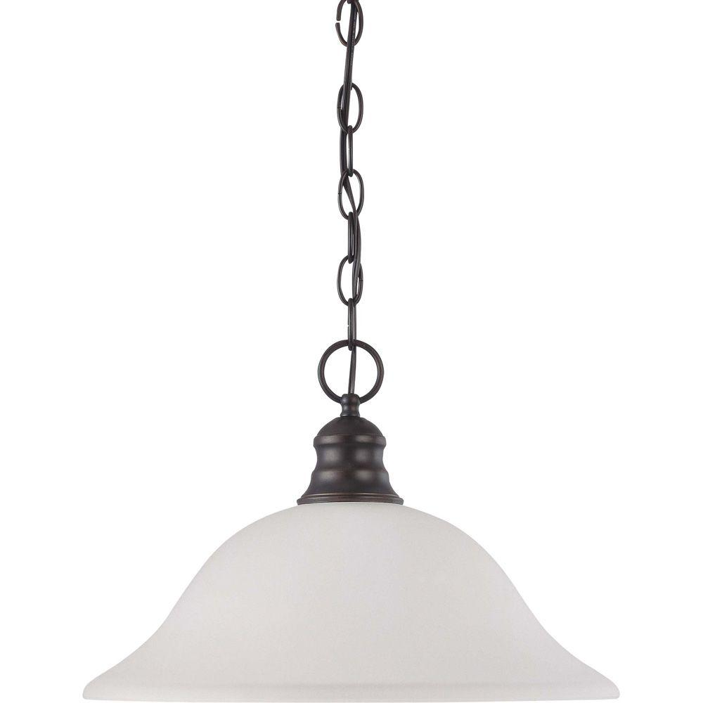 1-Light Mahogany Bronze Pendant with Frosted White Glass