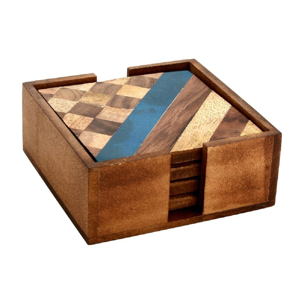 4-Piece Diagonal and Checkered Wood Coaster Set in Box