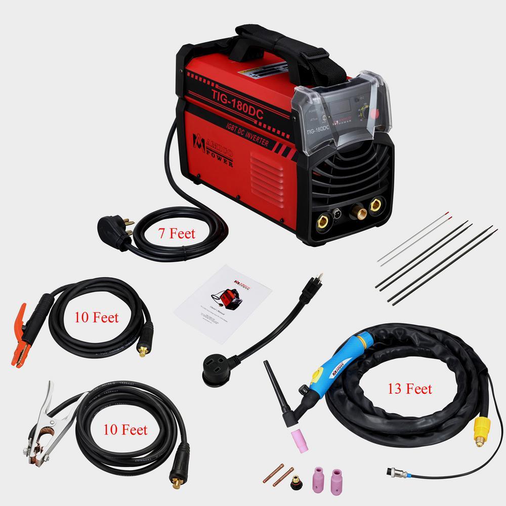 Amico 180 Amp TIG Torch arc Stick DC Inverter Welder 110/230-Volt Dual Voltage Welding Machine