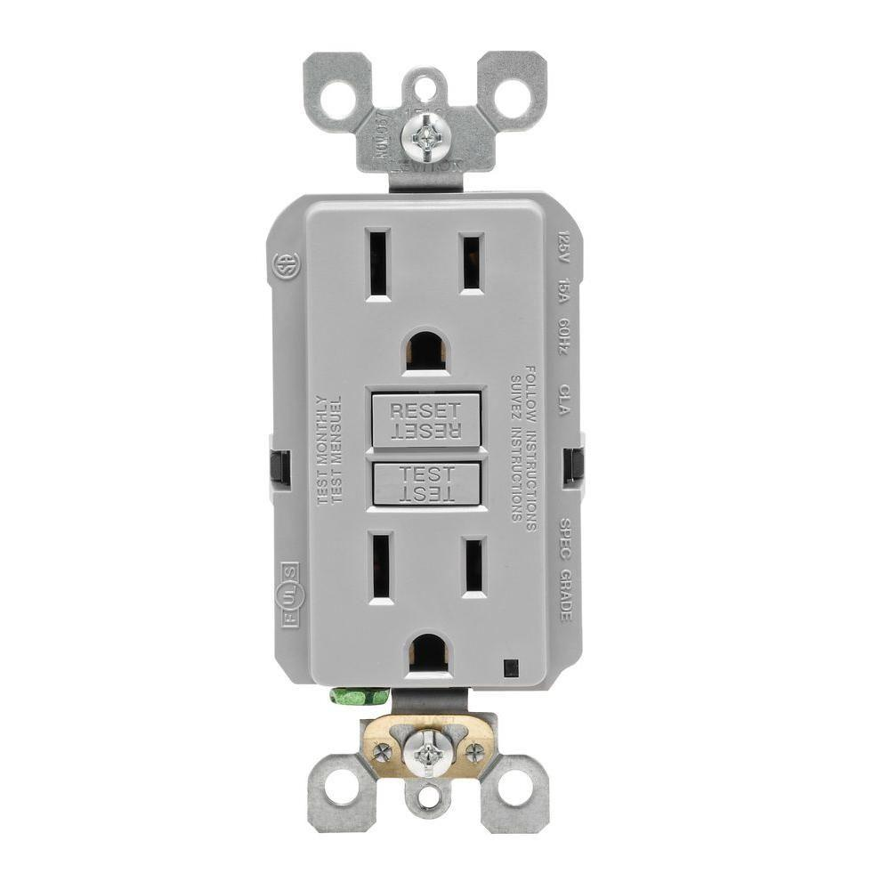 Leviton 15 Amp Self-Test SmartlockPro Slim Duplex GFCI Outlet, Gray ...