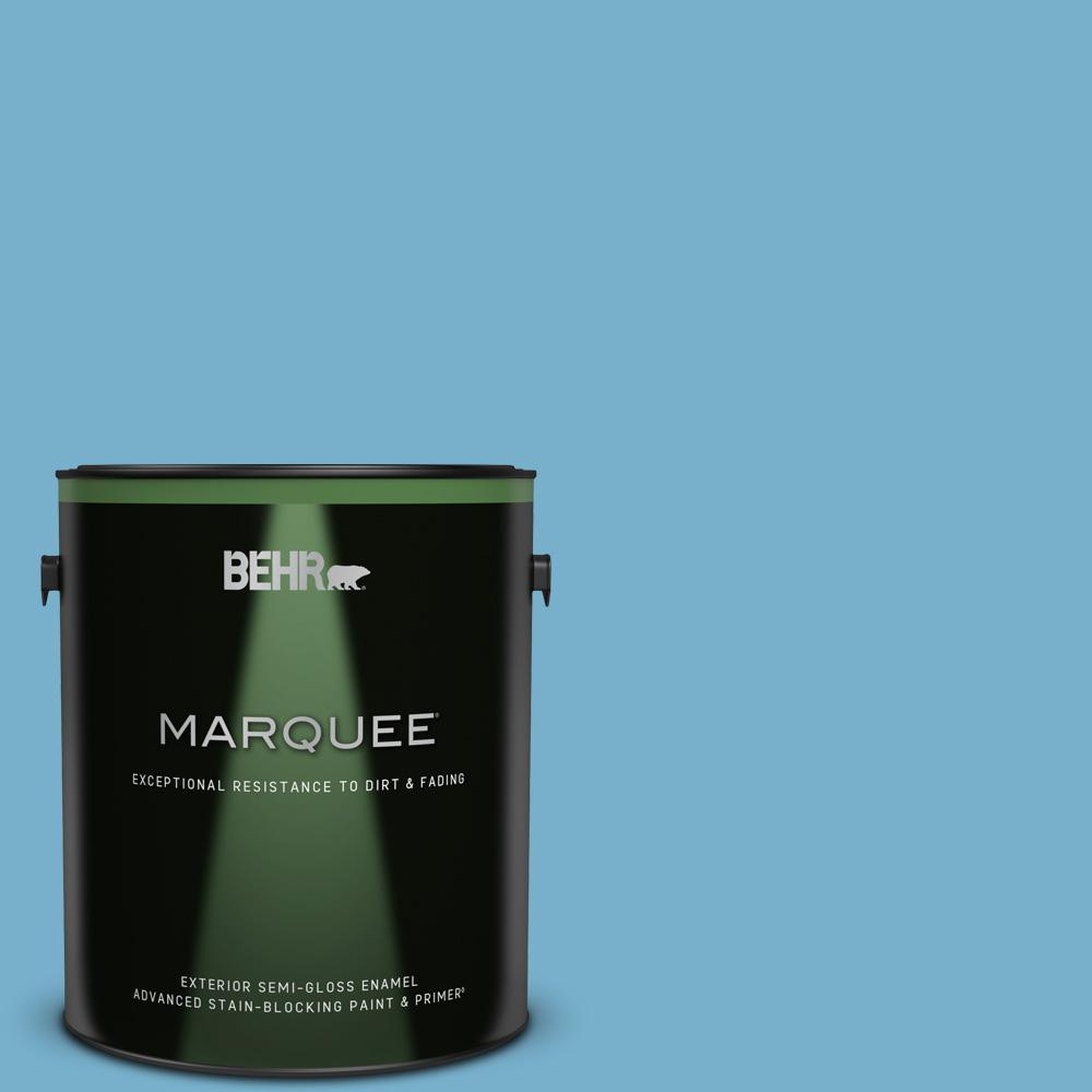 Behr Marquee 1 Gal 550d 5 Ocean Cruise Semi Gloss Enamel Exterior Paint And Primer In One 545401 The Home Depot